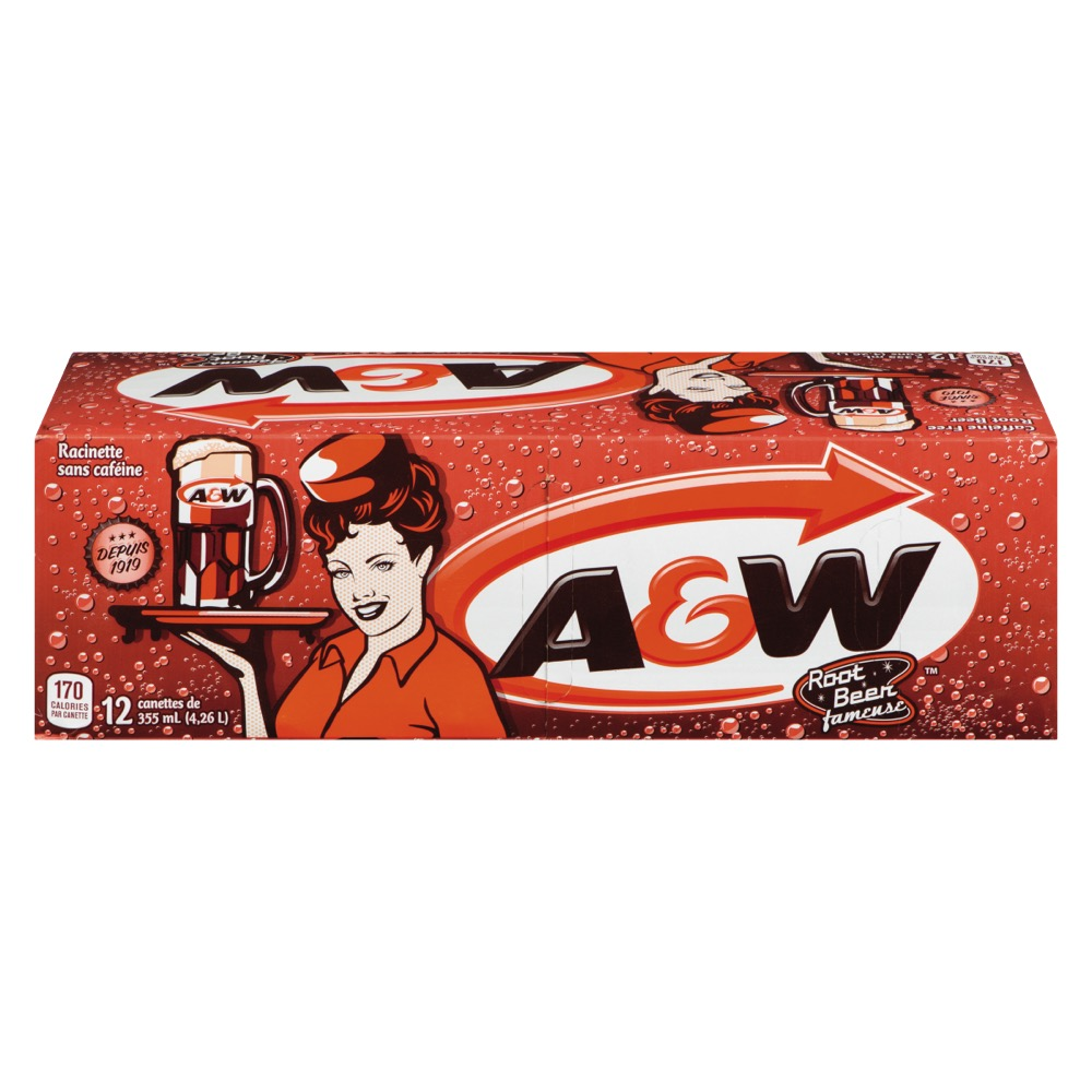 12 canettes de root beer A&W