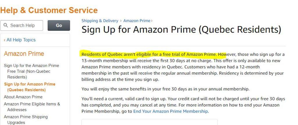 essai Amazon Prime Video Quebec