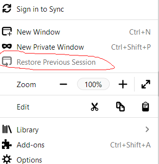 Firefox restore previous session