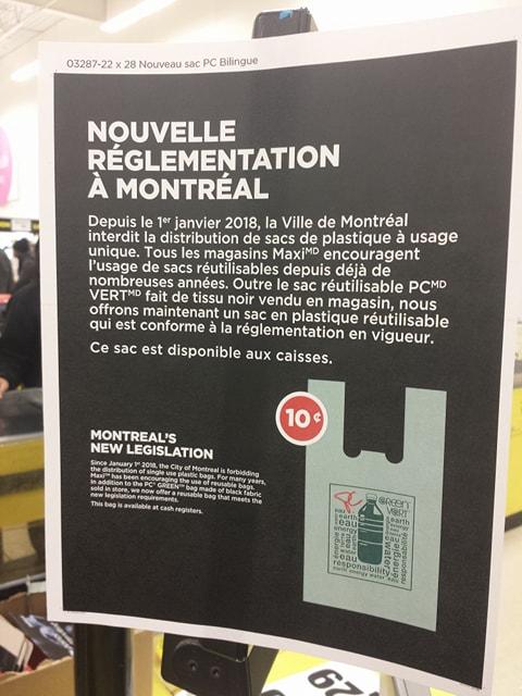 Règlementation municipale sur l'interdiction des sacs de plastique chez les commeçants à Montréal