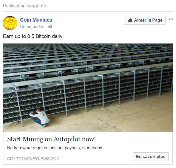 publicité Facebook de CloudMining.biz
