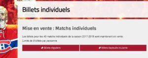Achat de billets de hockey individuels pour un match des Canadiens de Montréal