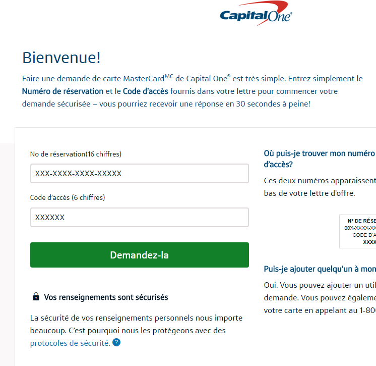 site Internet de Capital One