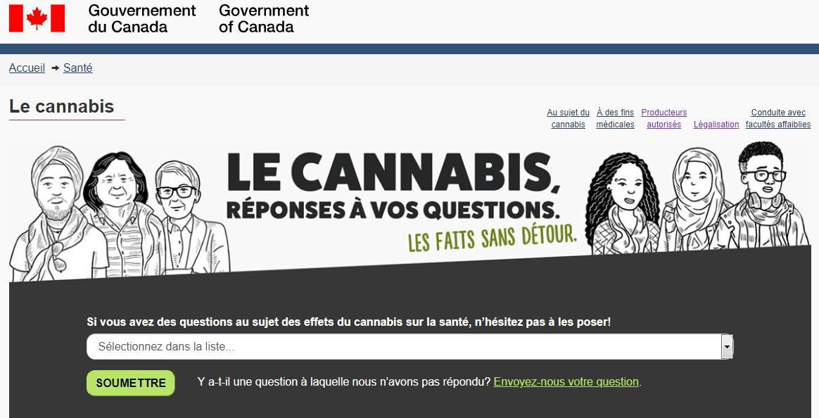 Site du gouvernement du Canada sur le cannabis