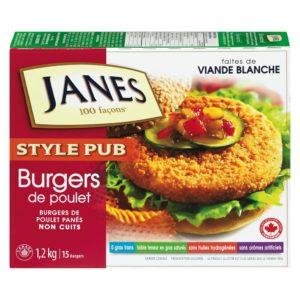 burgers de poulet de la marque Janes