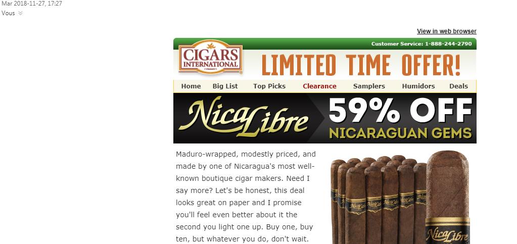 Infolettre de Cigars International