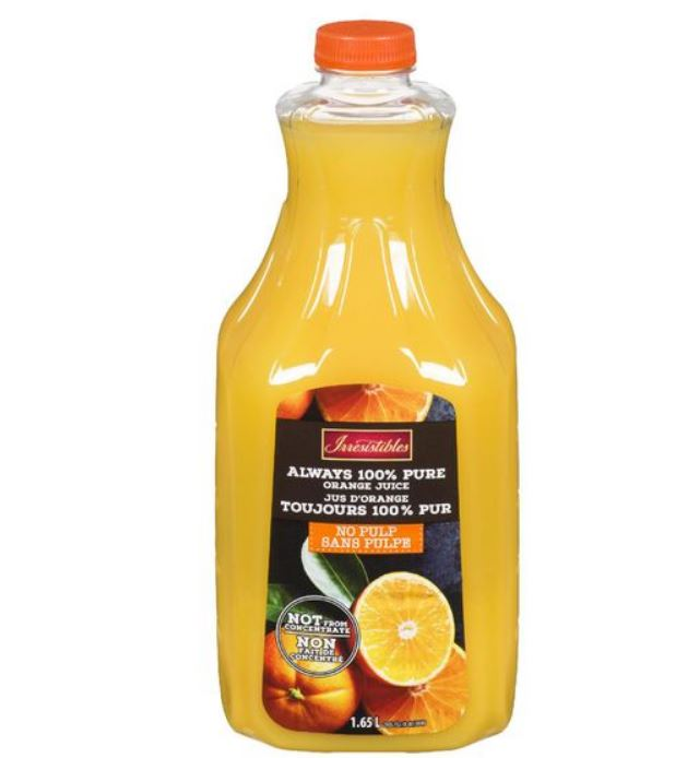 Jus d'orange sans pulpe Irrésistibles