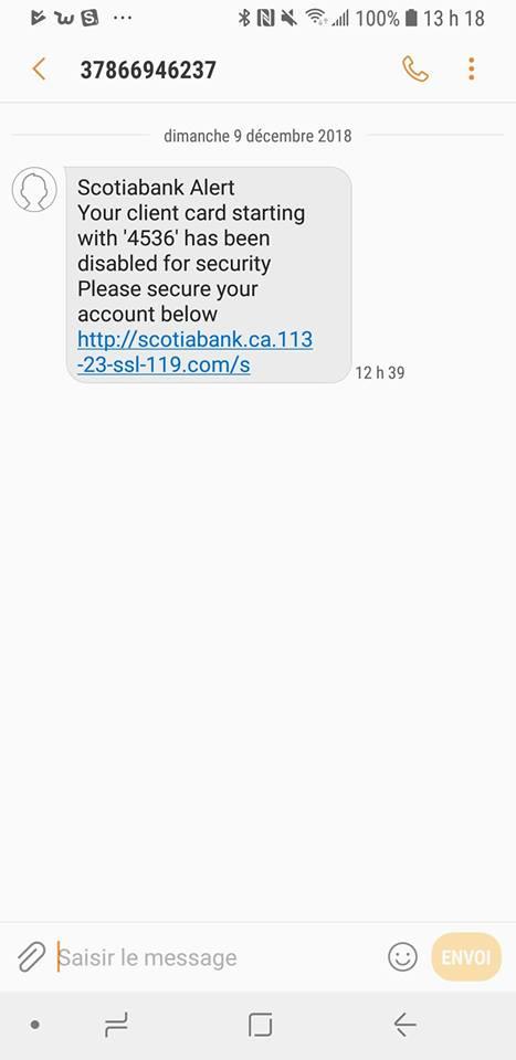 tentative de hameçonnage contre des clients de la Banque Scotia