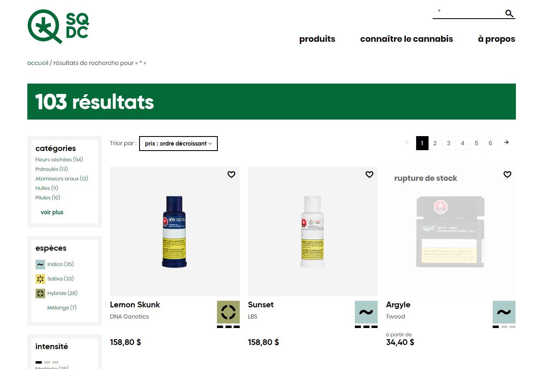 Les produits les plus chers en vente à la Société Québécoise du Cannabis (SQDC)
