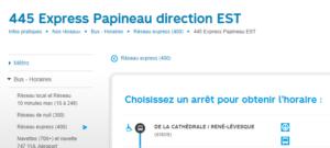 Autobus 445 Express Papineau direction EST