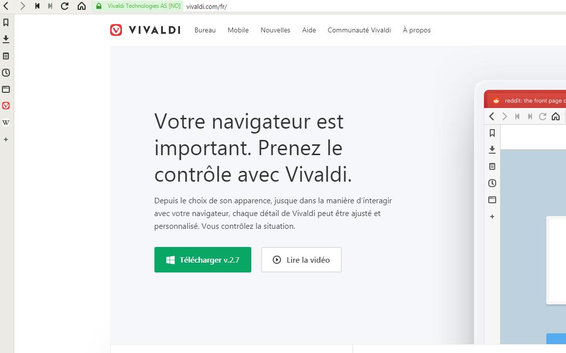 Essai du navigateur Vivaldi