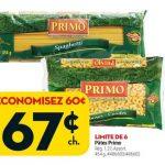 Aubaine vedette de la semaine: pâtes Primo, 67 cents