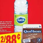 Aubaine vedette de la semaine: bouteille d'eau de source Naya 1.5 litres, deux pour 88 cents